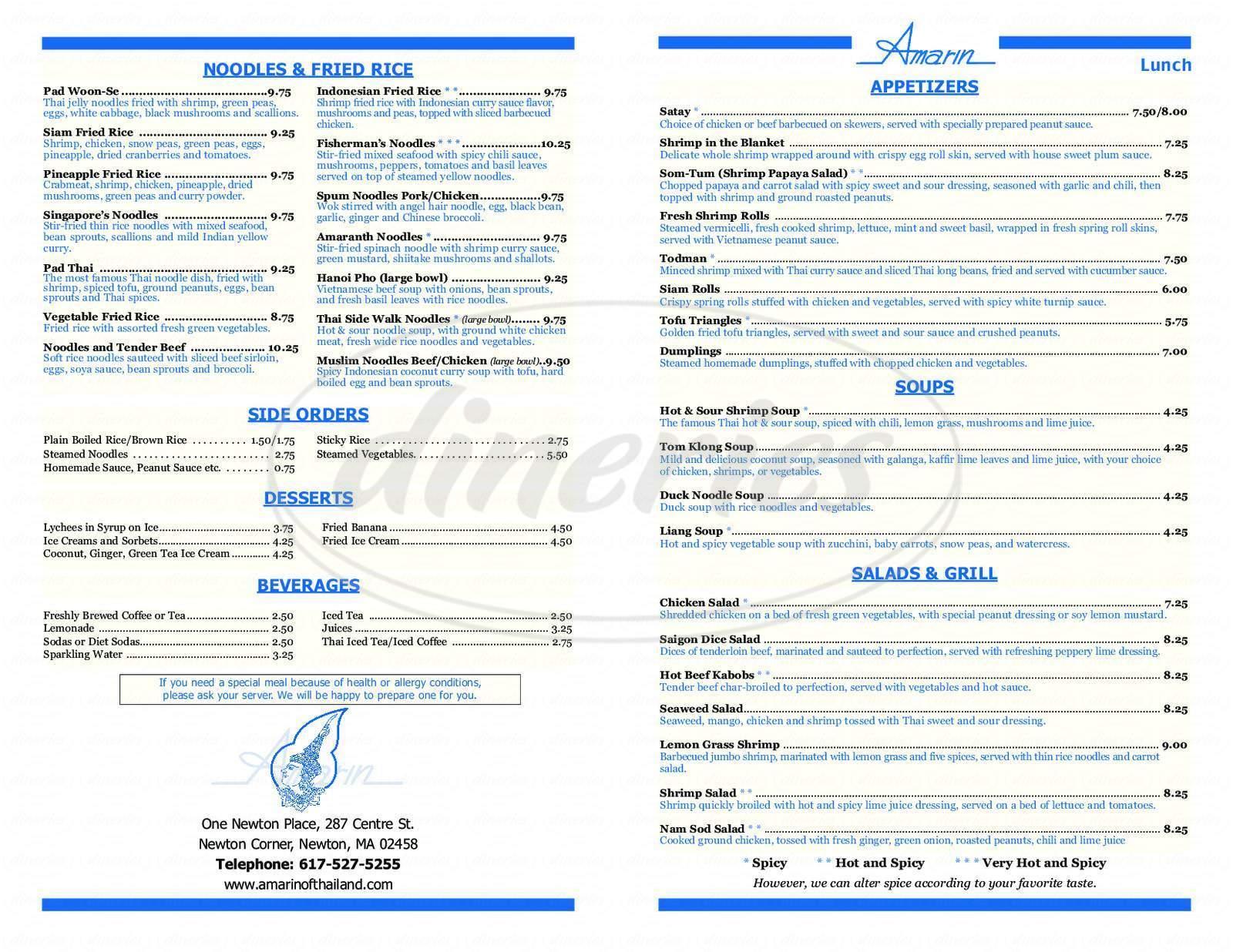 menu for Amarin of Thailand