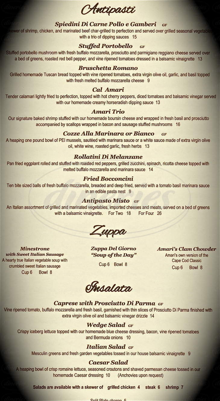 menu for Amari Bar & Ristorante