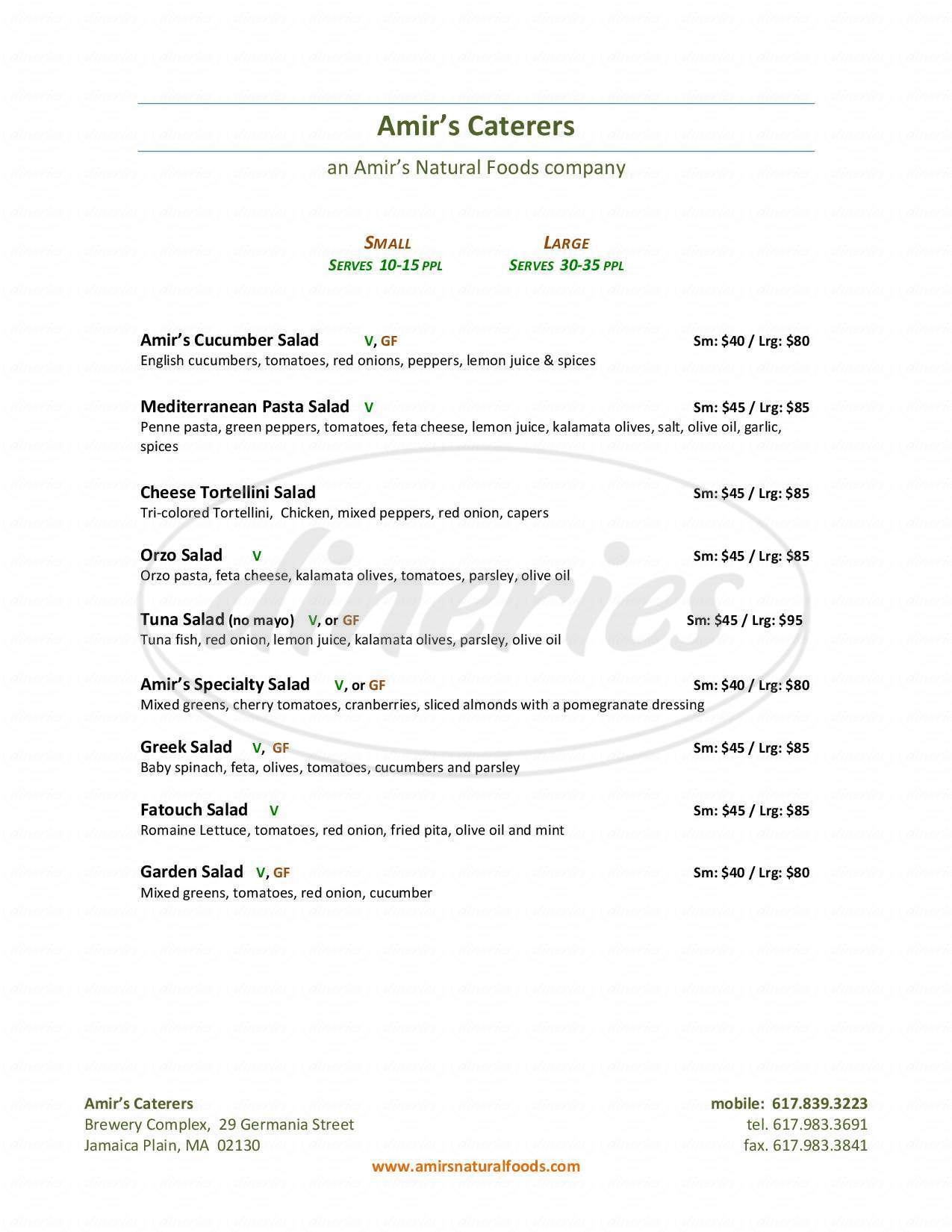 menu for Amir's Natural Foods and Catering