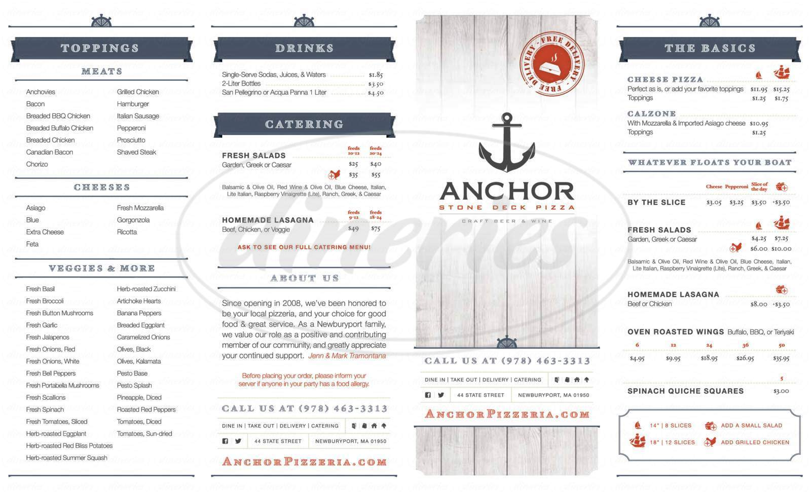 menu for Anchor Stone Deck Pizza