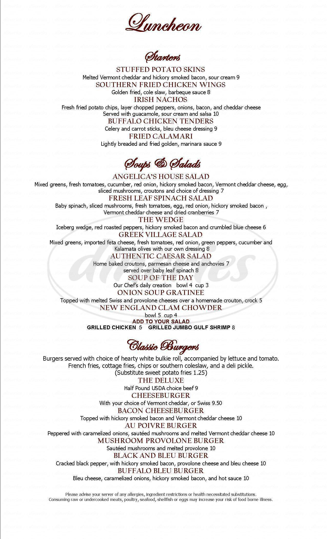 menu for Angelica's Restaurant & Functions