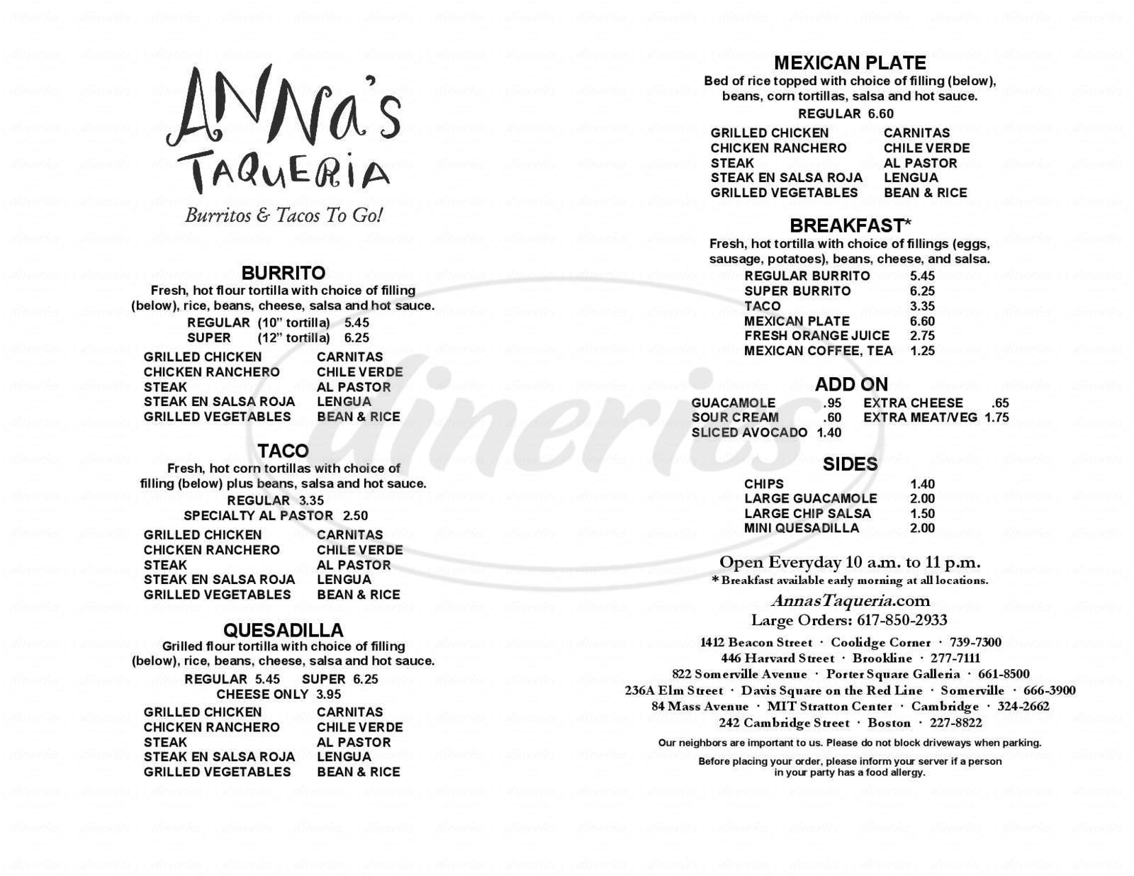 Big menu for Anna's Taqueria, Brookline