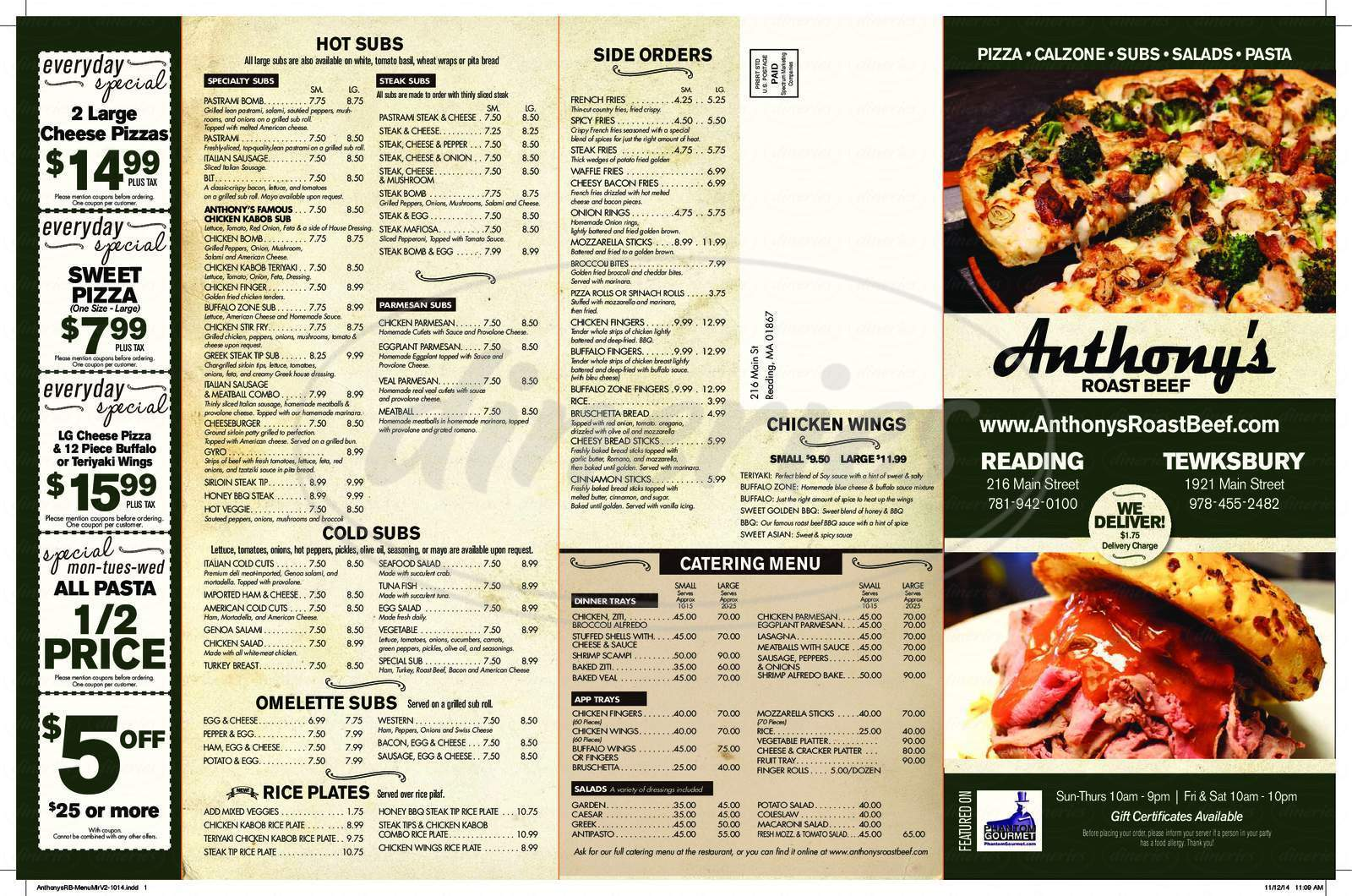 menu for Anthony's Roast Beef & Pizza