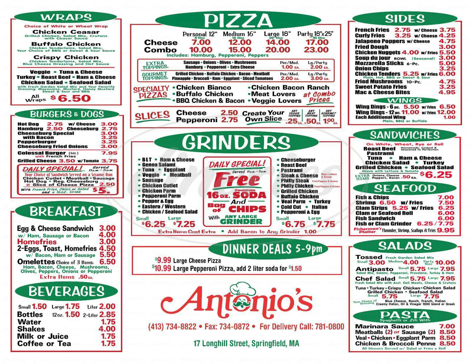 menu for Antonio's Grinders