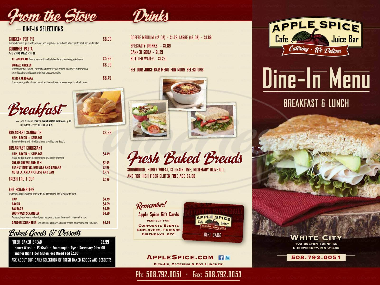 menu for Apple Spice Cafe & Juice Bar