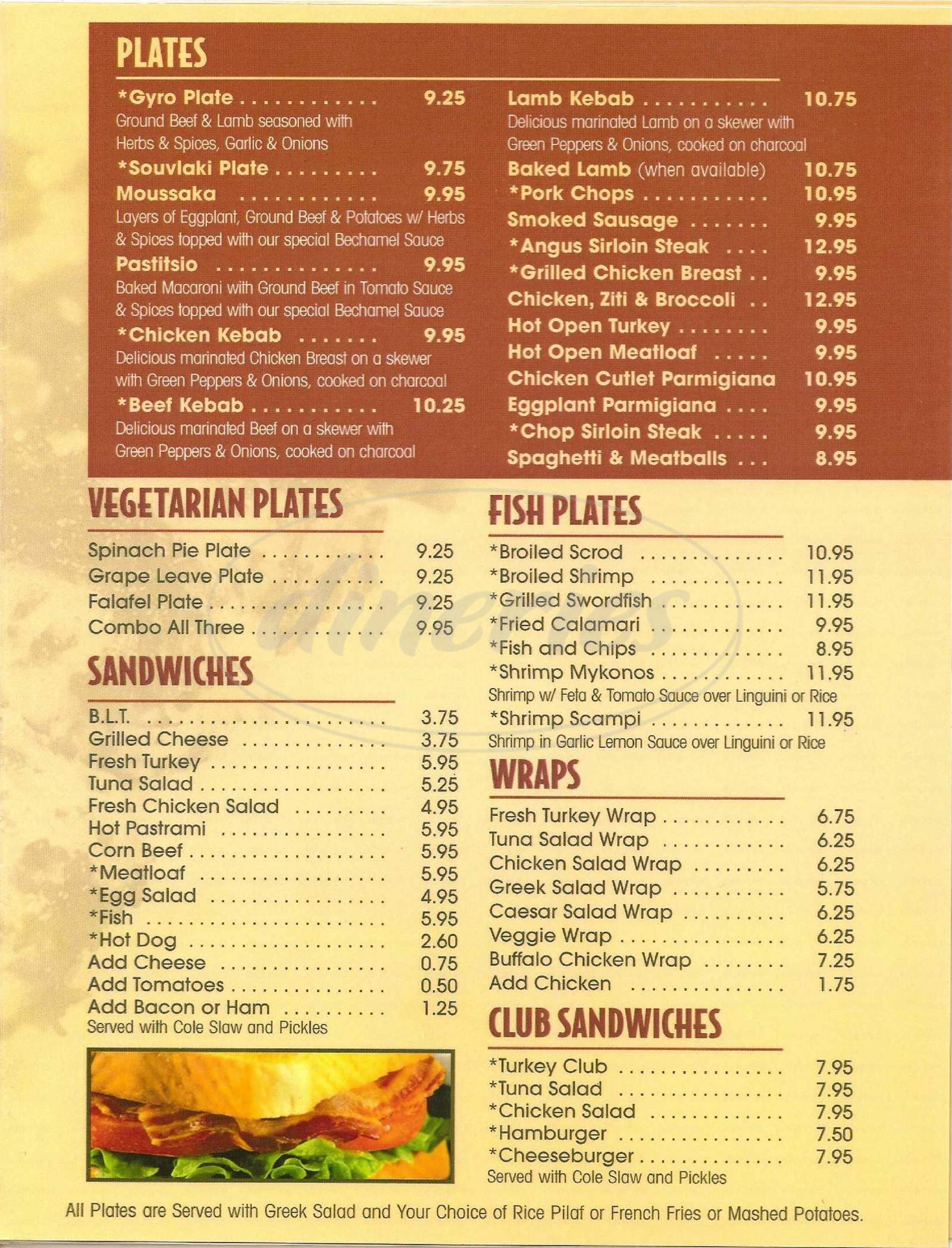 menu for Arlington Restaurant and Diner
