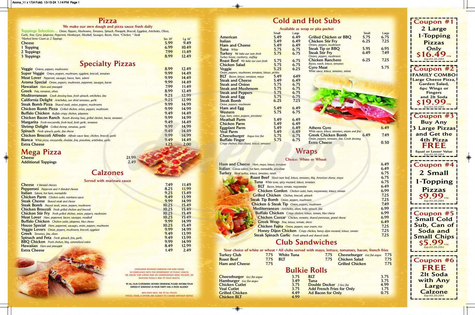 menu for Aroma Pizza & Grill