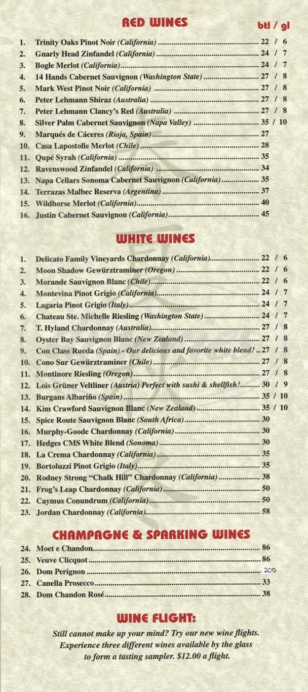 menu for All Seasons Table