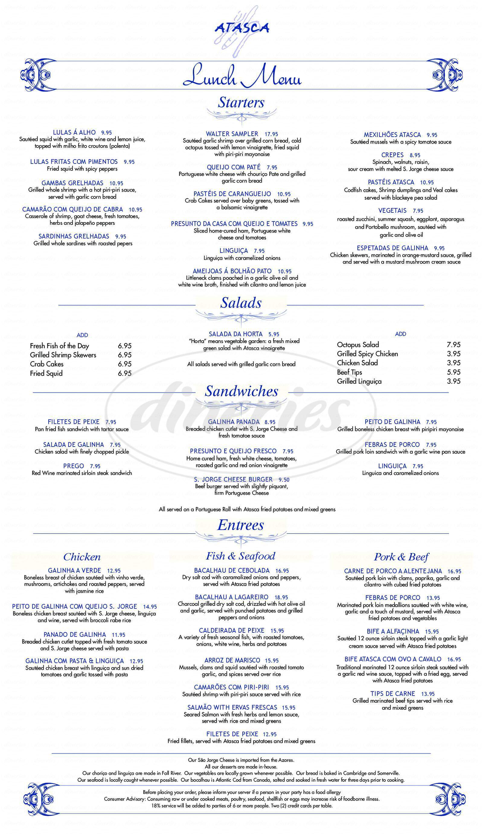 menu for Atasca Hampshire
