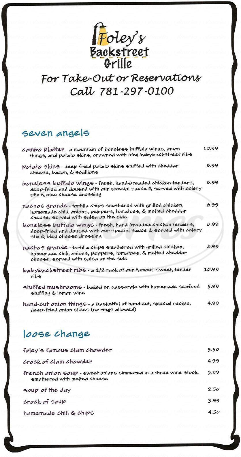 menu for Foleys Backstreet Grille