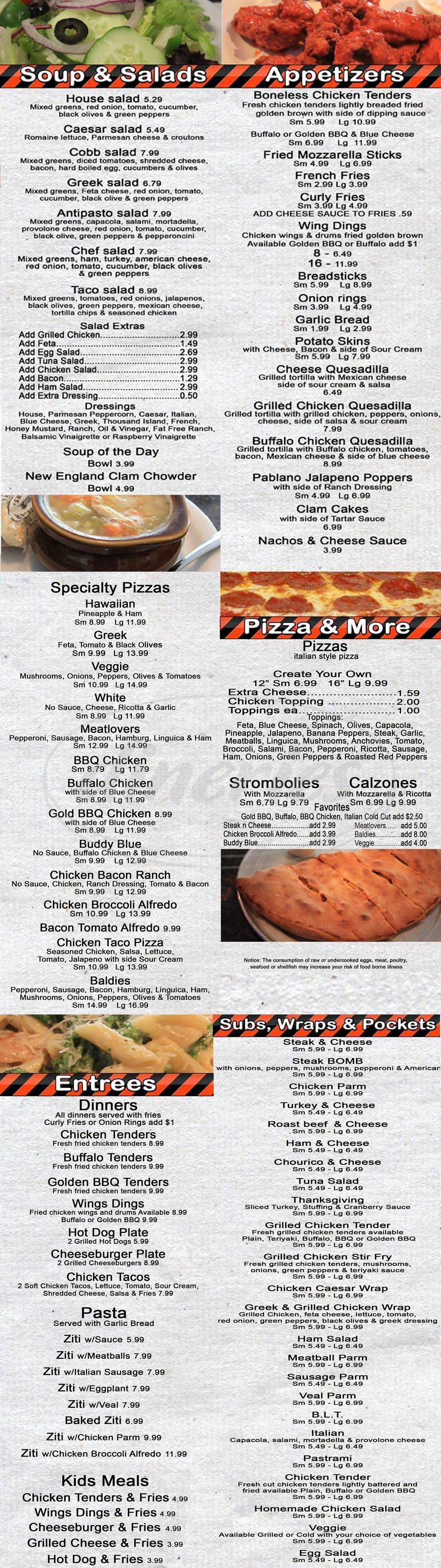 menu for Baldies Pizza & Ice Cream