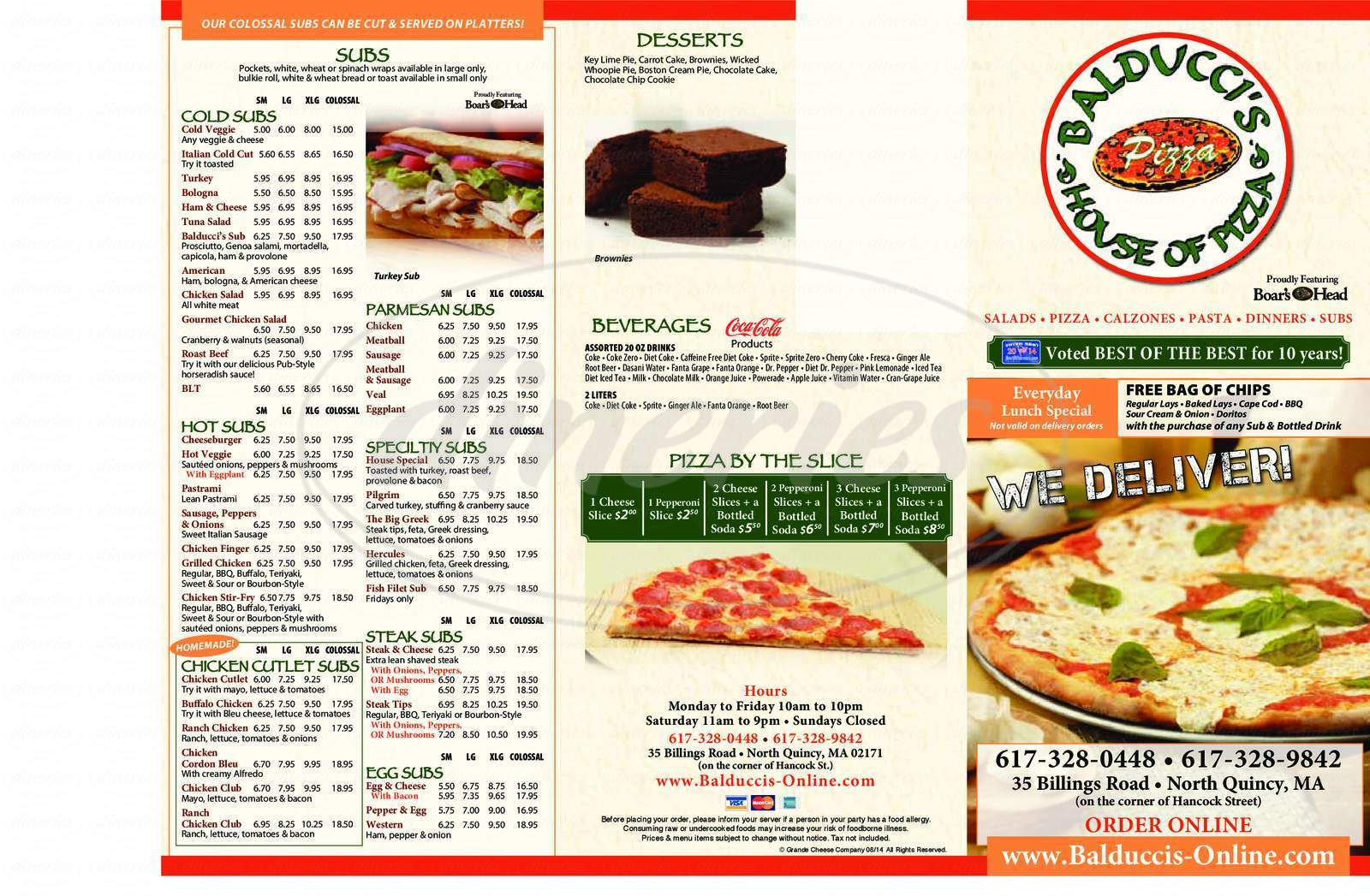 menu for Balducci's House of Pizza
