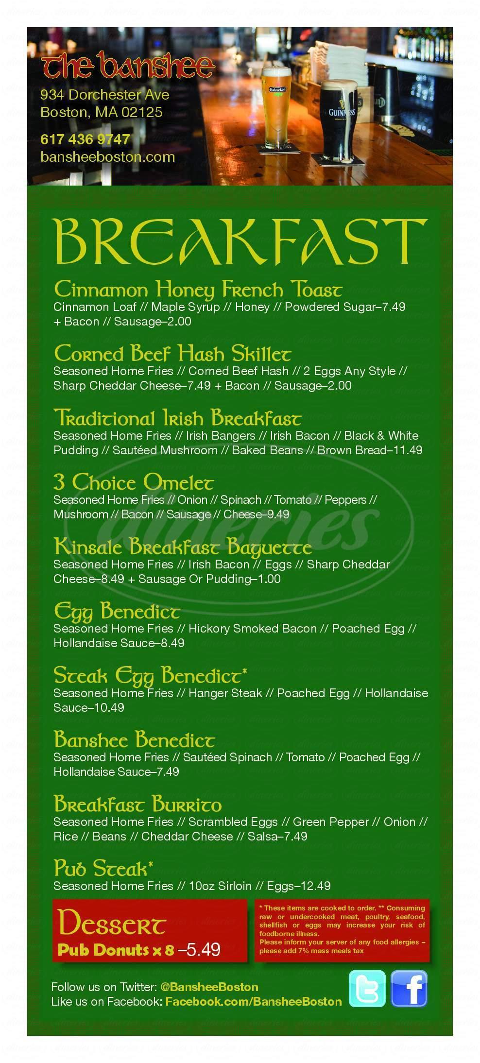 menu for The Banshee