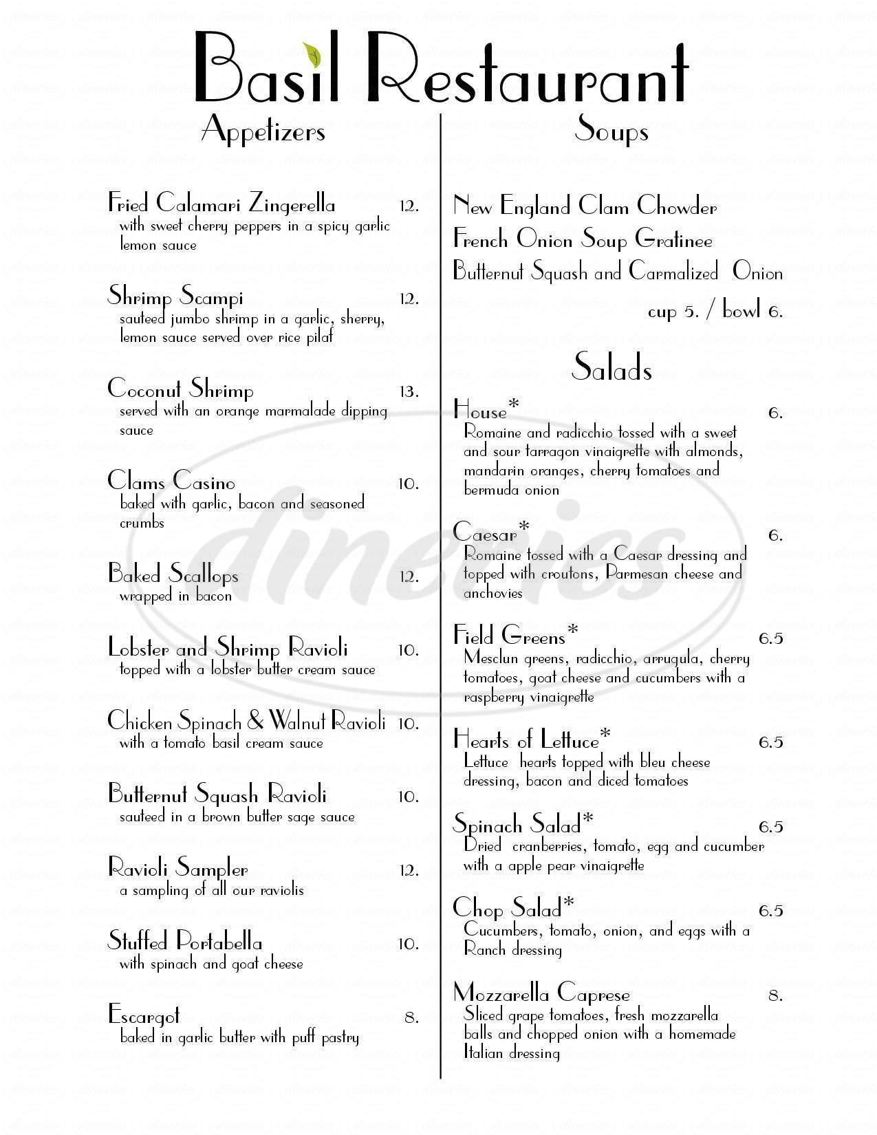 menu for Basil