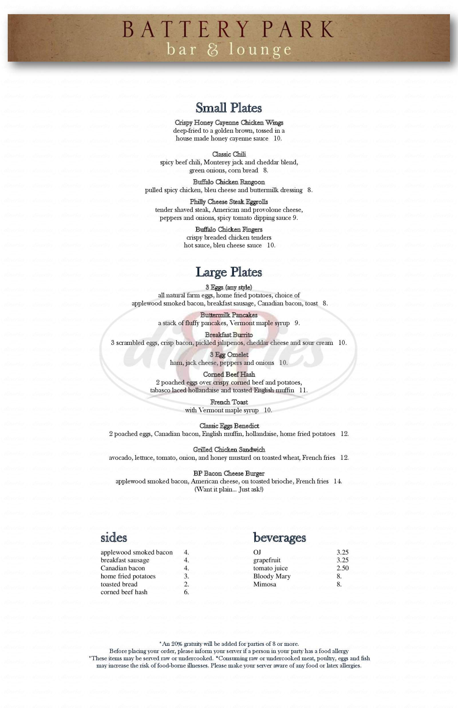 menu for Battery Park Bar & Lounge