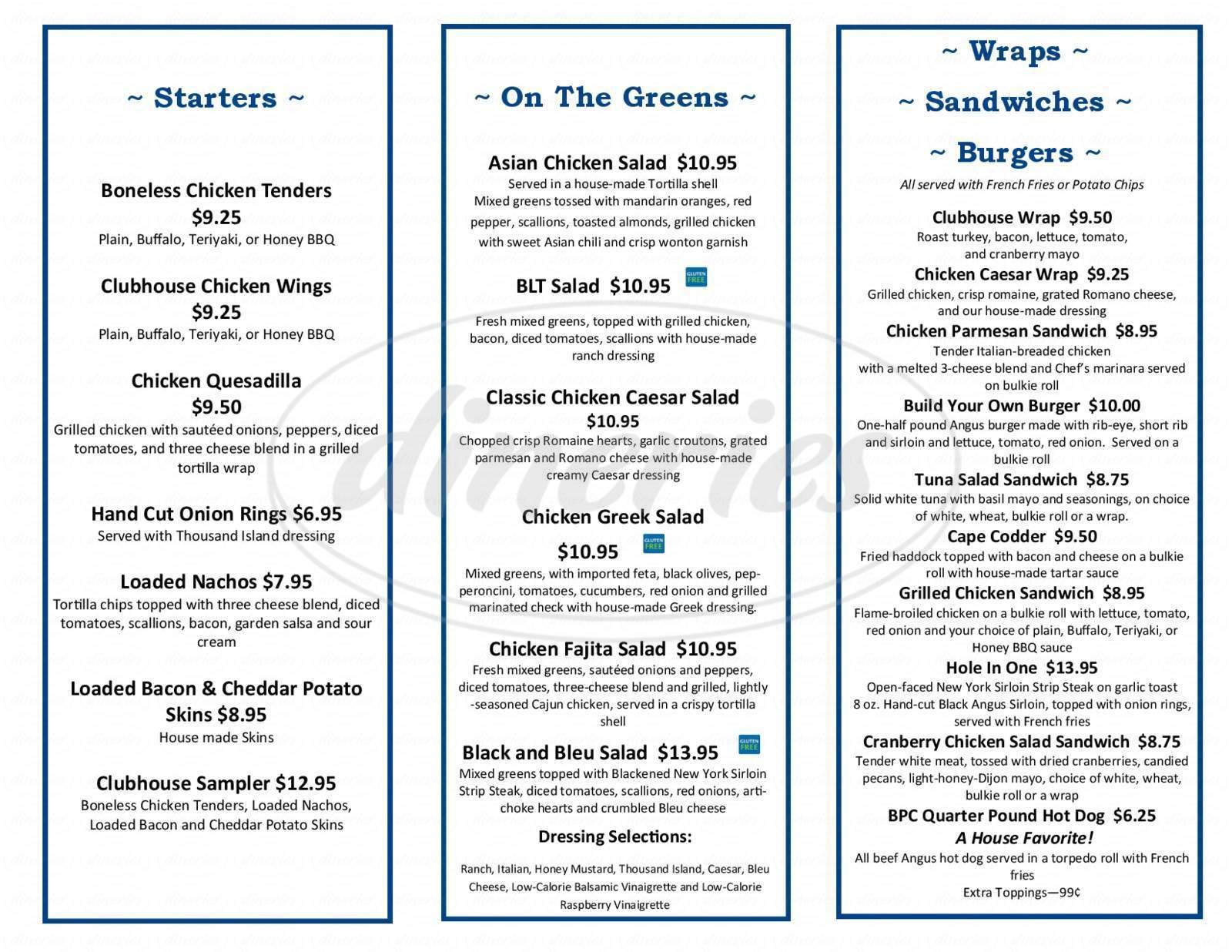 menu for The Bay Pointe Club