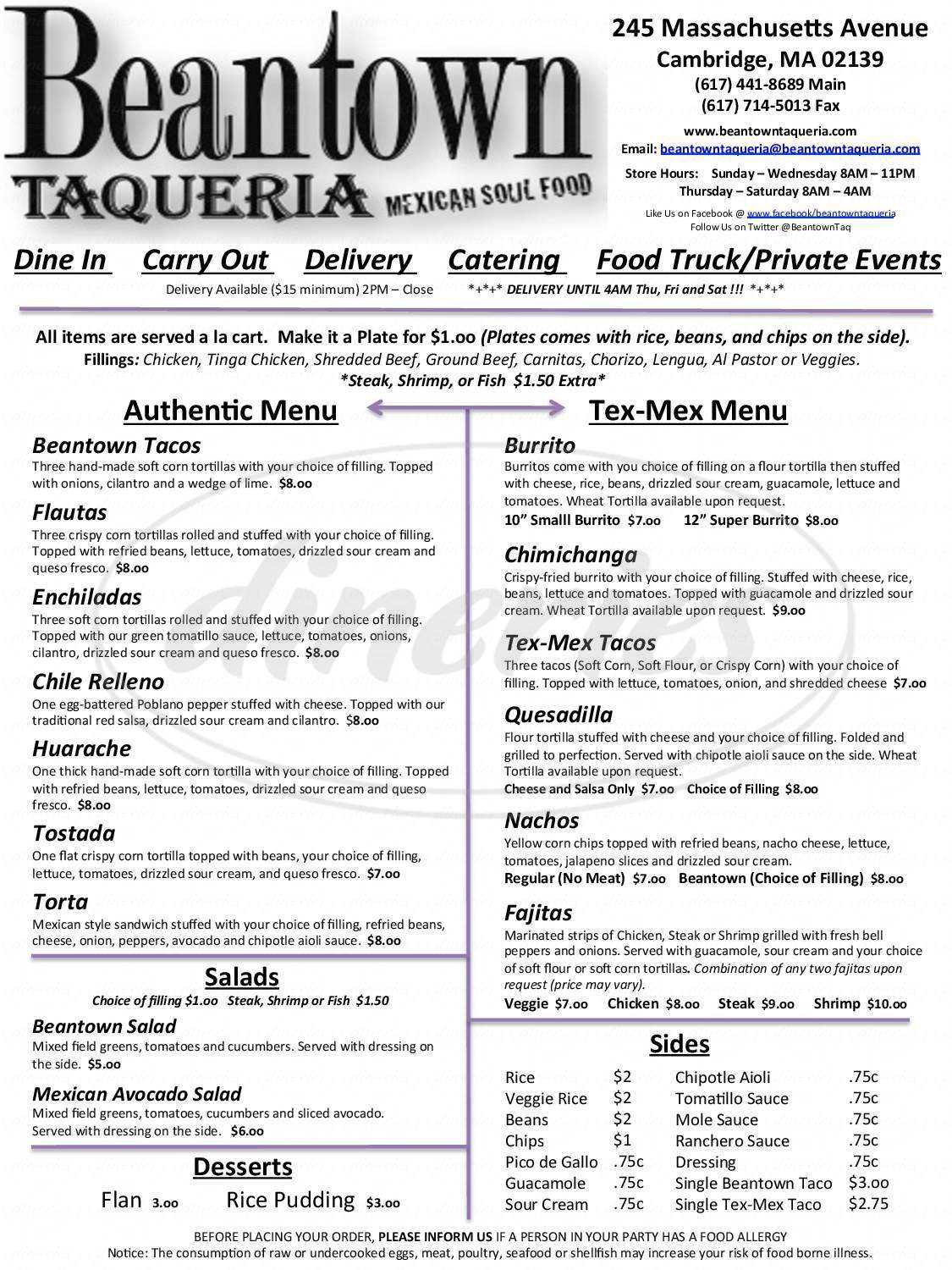 menu for Beantown Taqueria