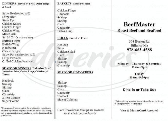 menu for BeefMaster Roast Beef & Seafood