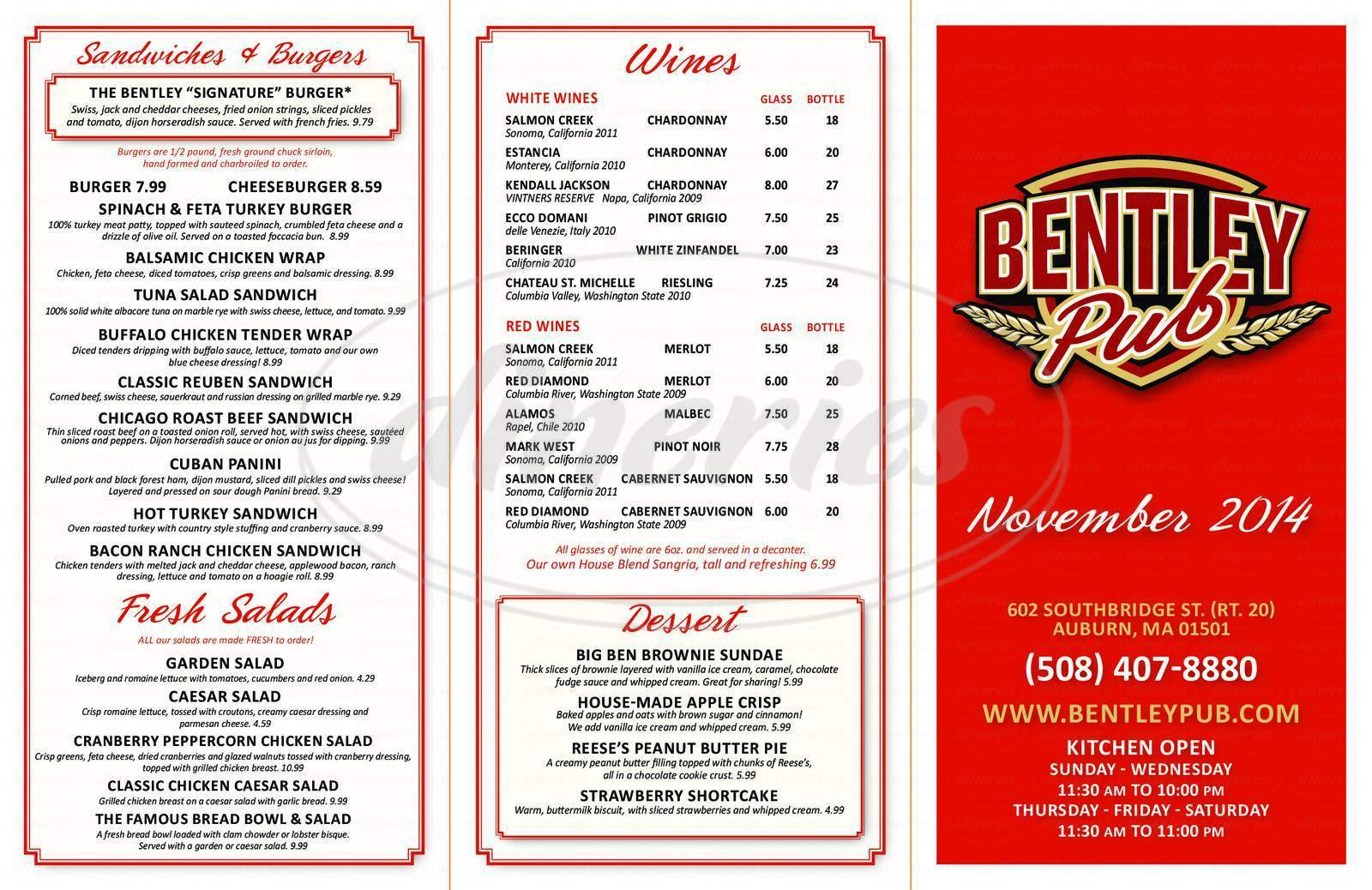menu for Bentley Pub