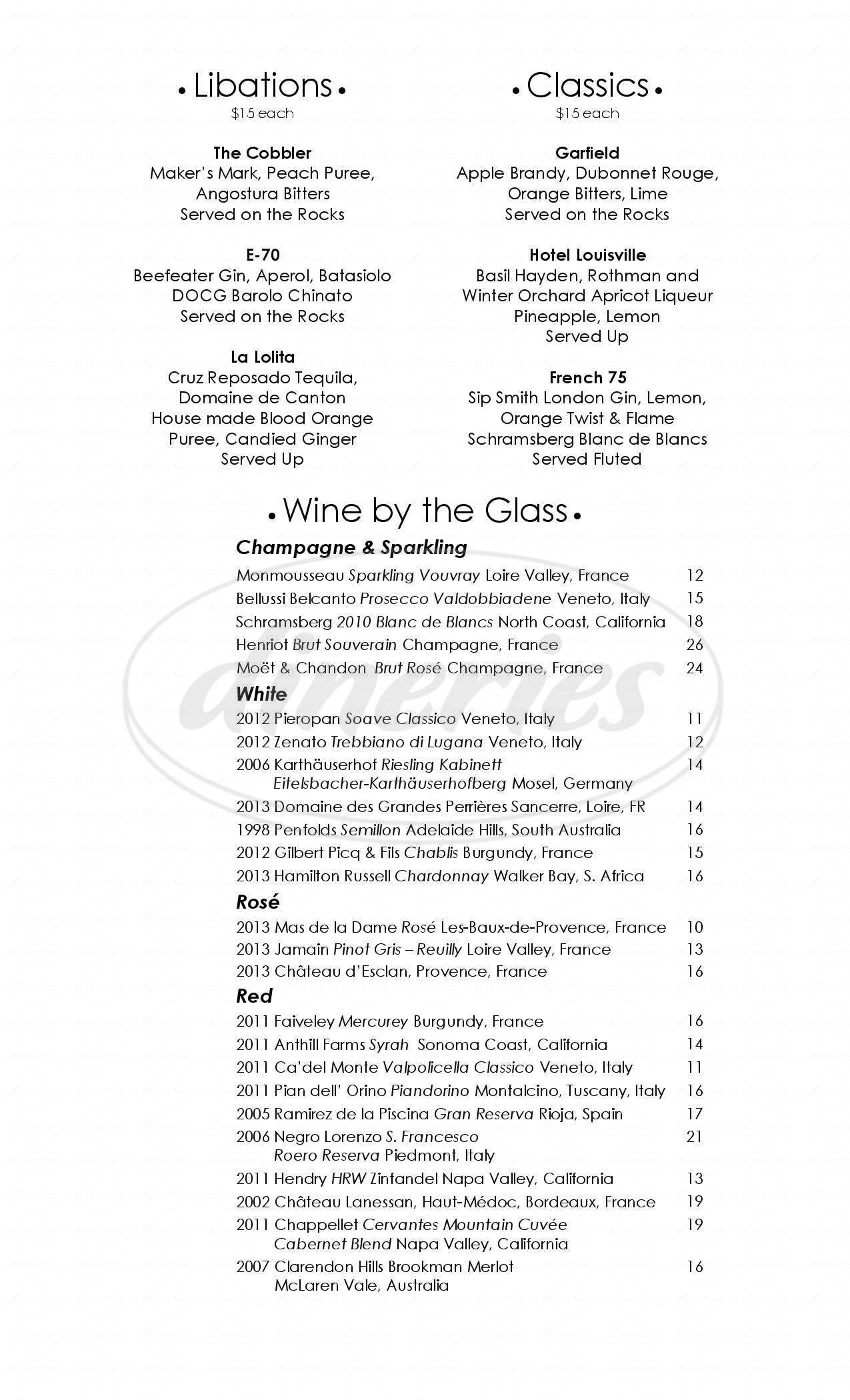 menu for Rowes Wharf Bar - Boston Harbor Hotel