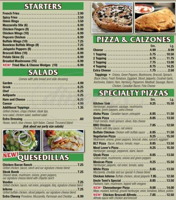 menu for Big Al's Pizza Plus