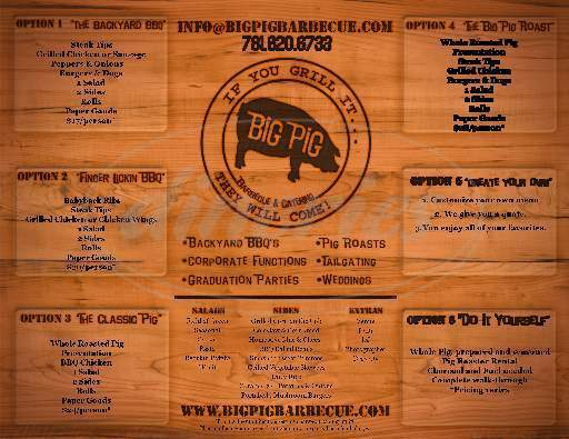 menu for Big Pig Barbecue & Catering