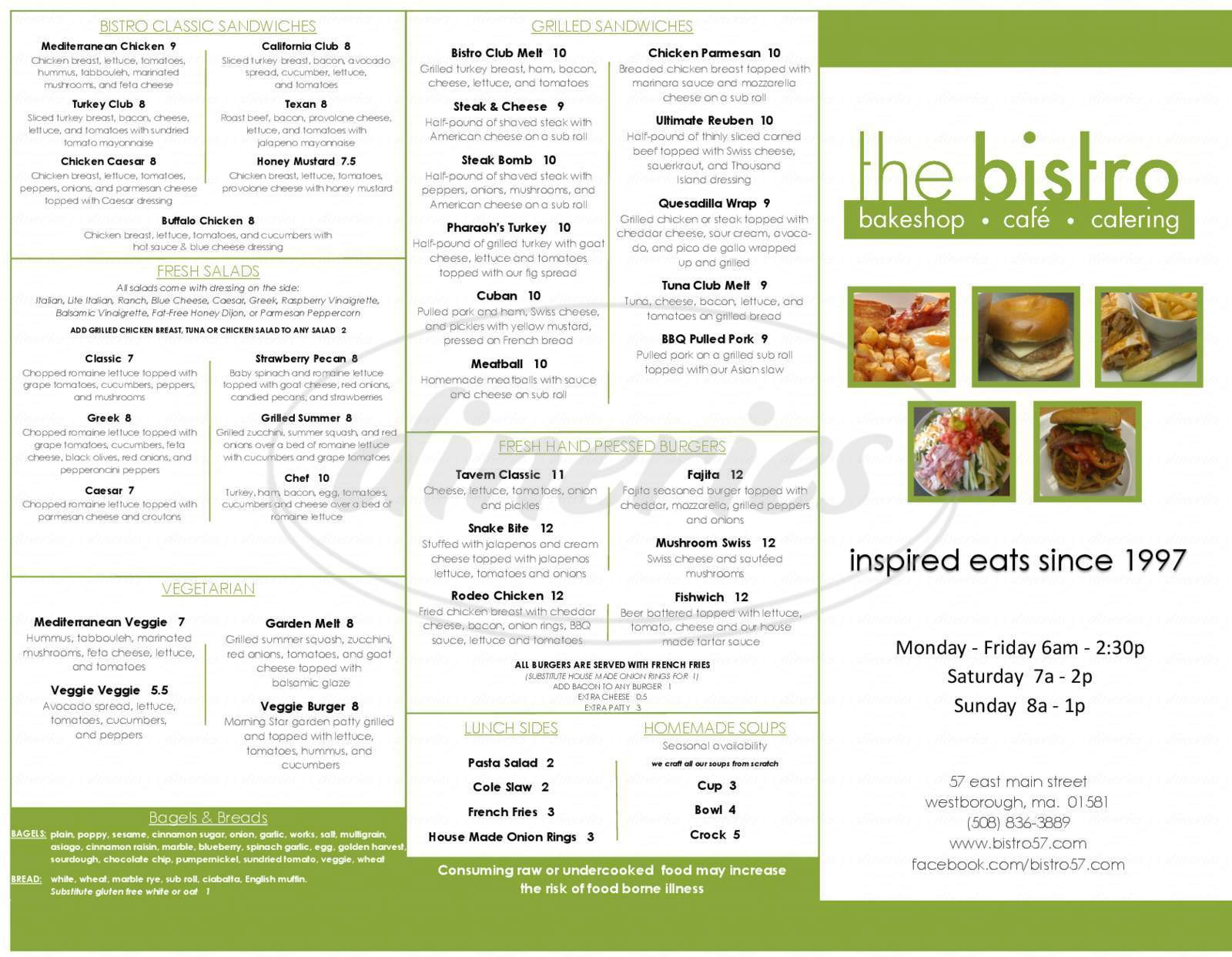 menu for The Bistro