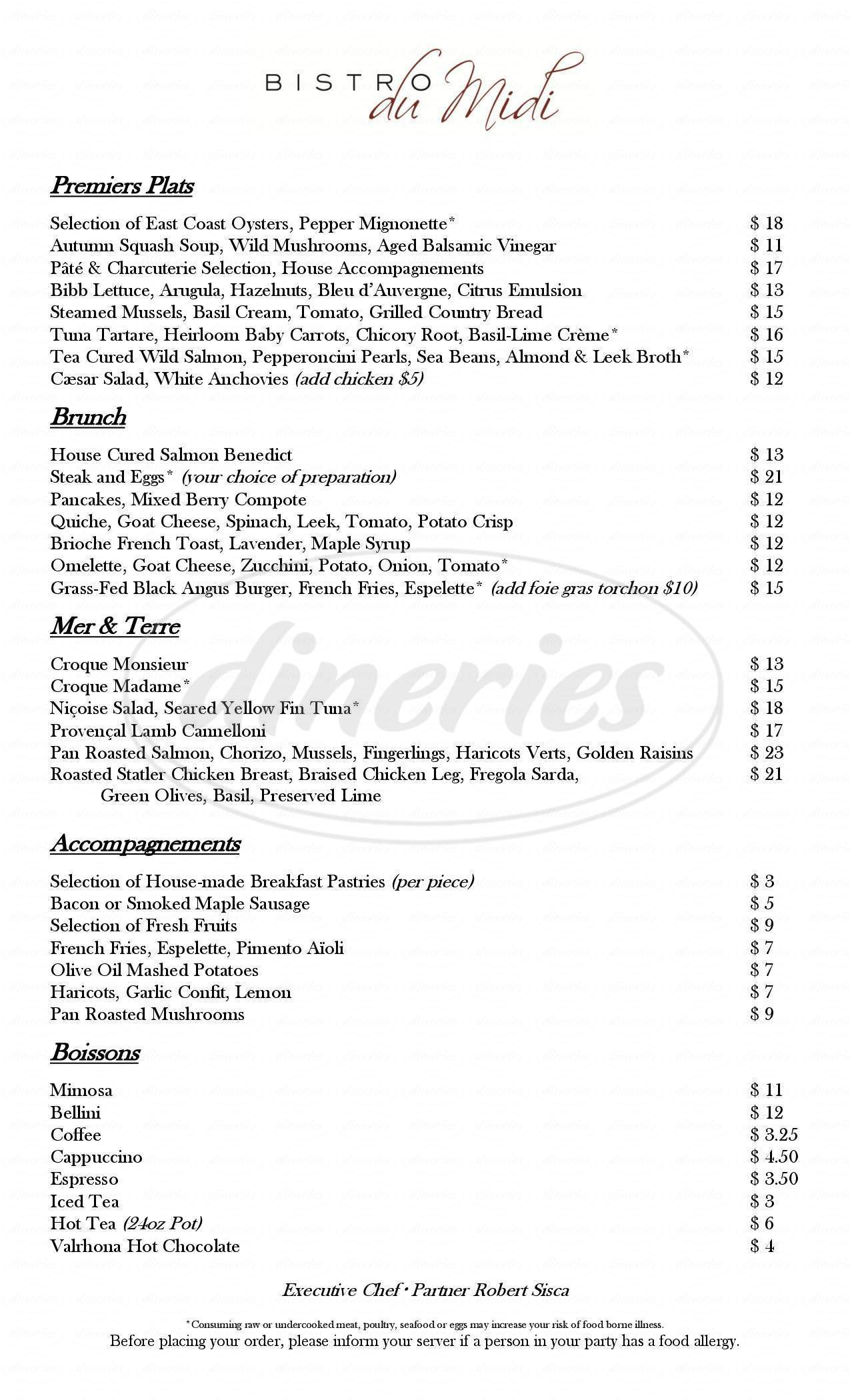 menu for Bistro Du Midi