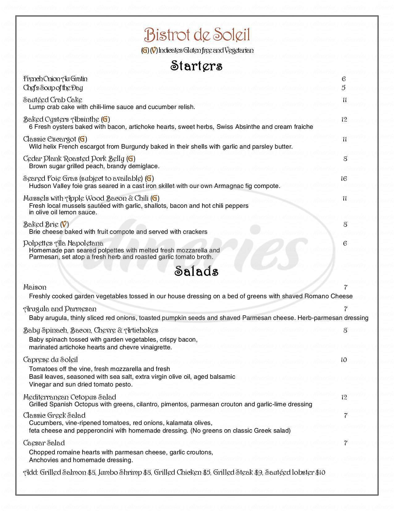menu for Bistrot De Soleil