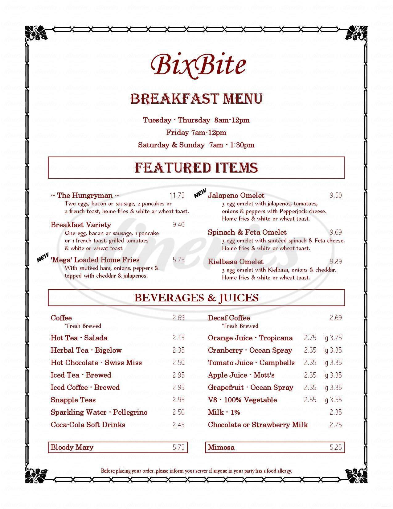 menu for BixBite