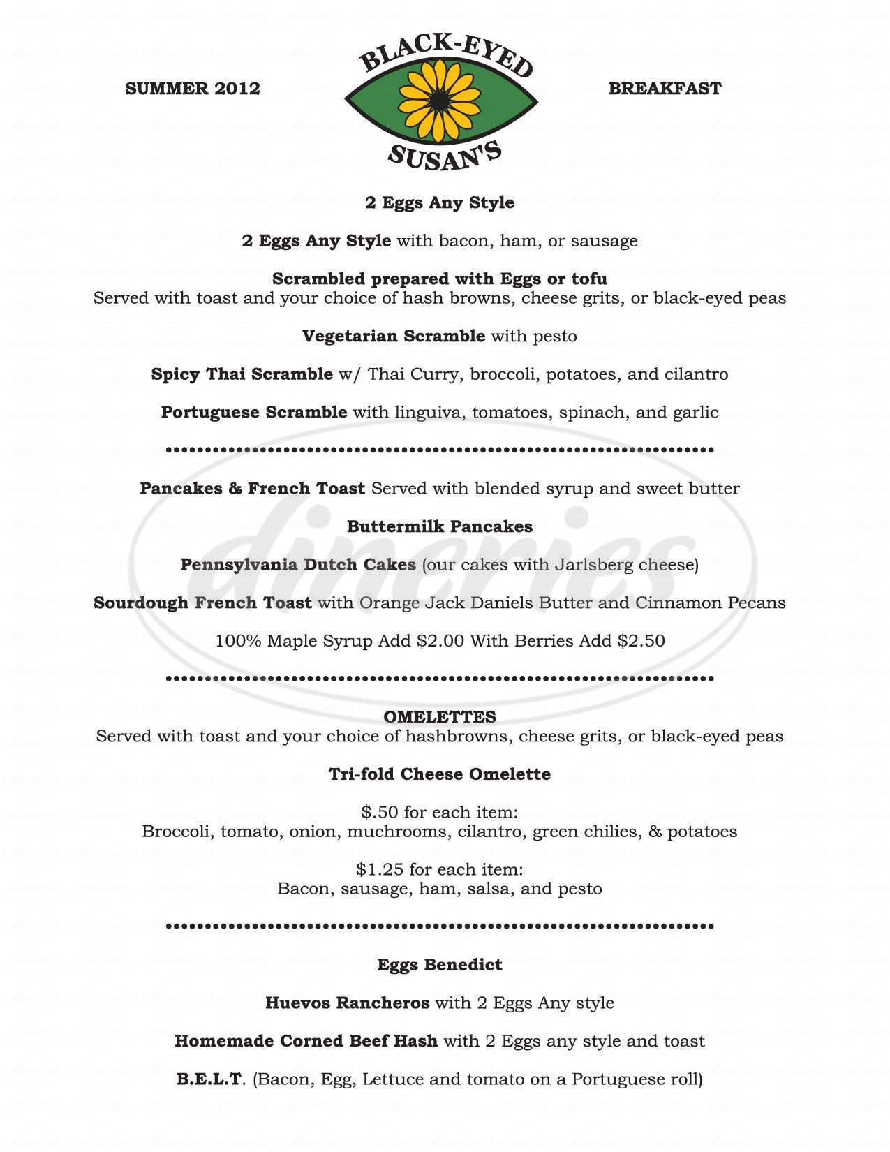 menu for Black-Eyed Susan's