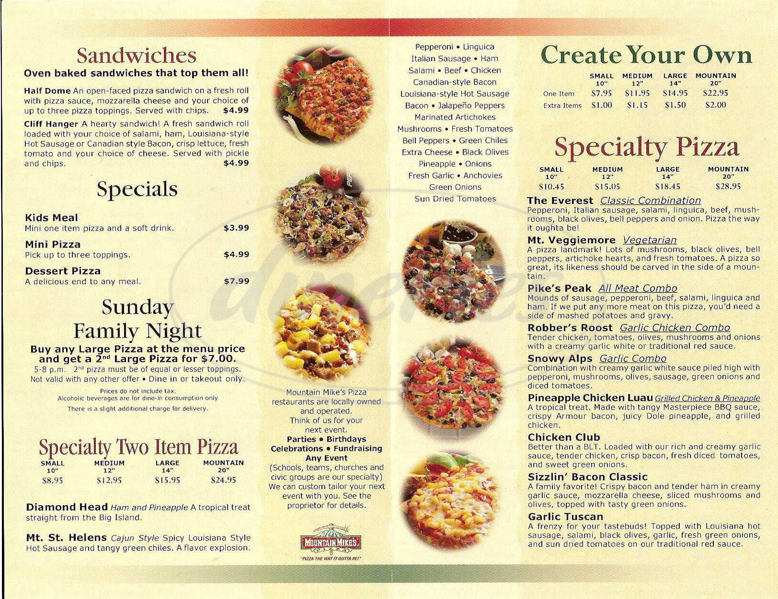 Regular prices for the entire menu of Mountain Mike's Pizza. Try McKinley, the Everest, Pike's Peak and Chicken Club pizzas. Order your favorite pizza now/5().