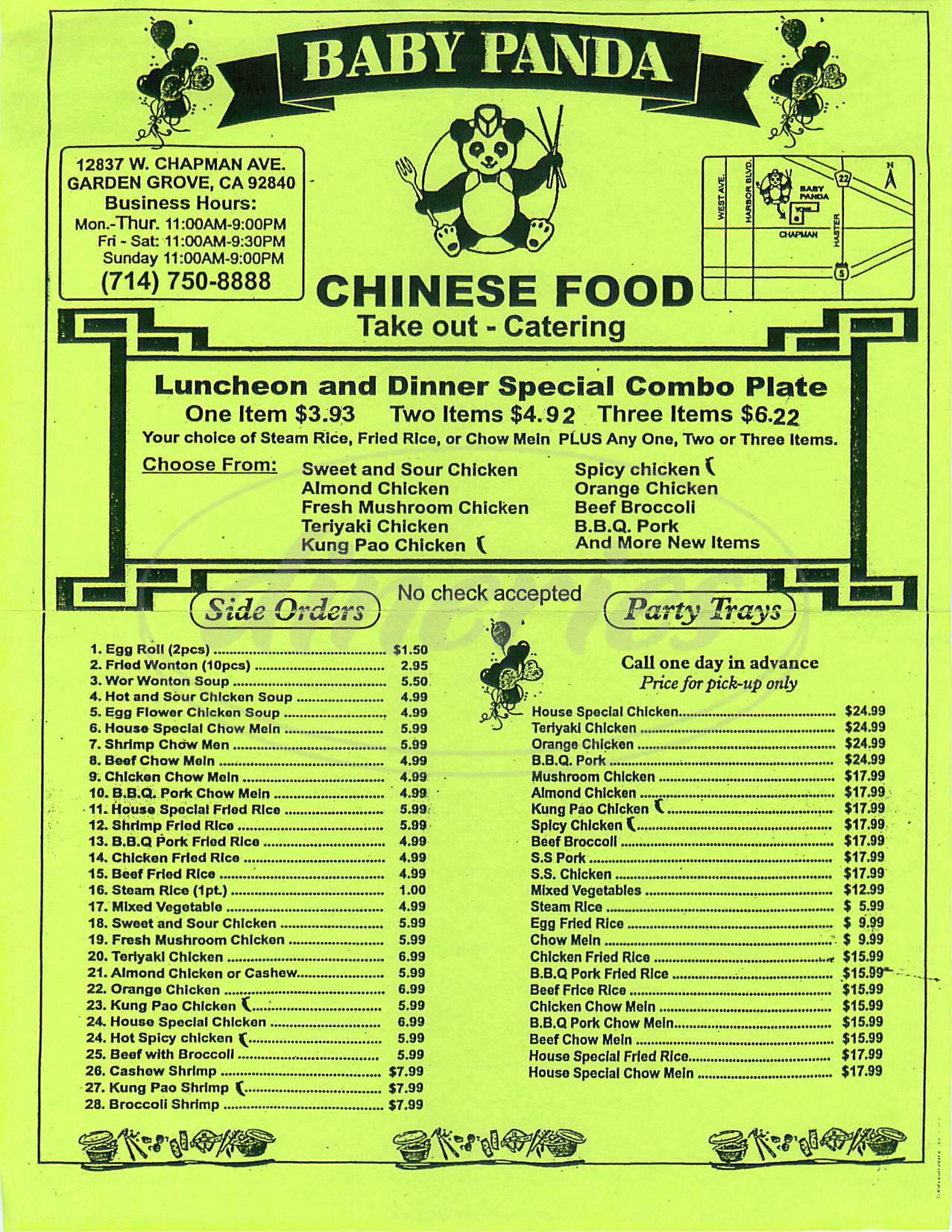 Baby Panda Chinese Restaurant Menu Garden Grove Dineries