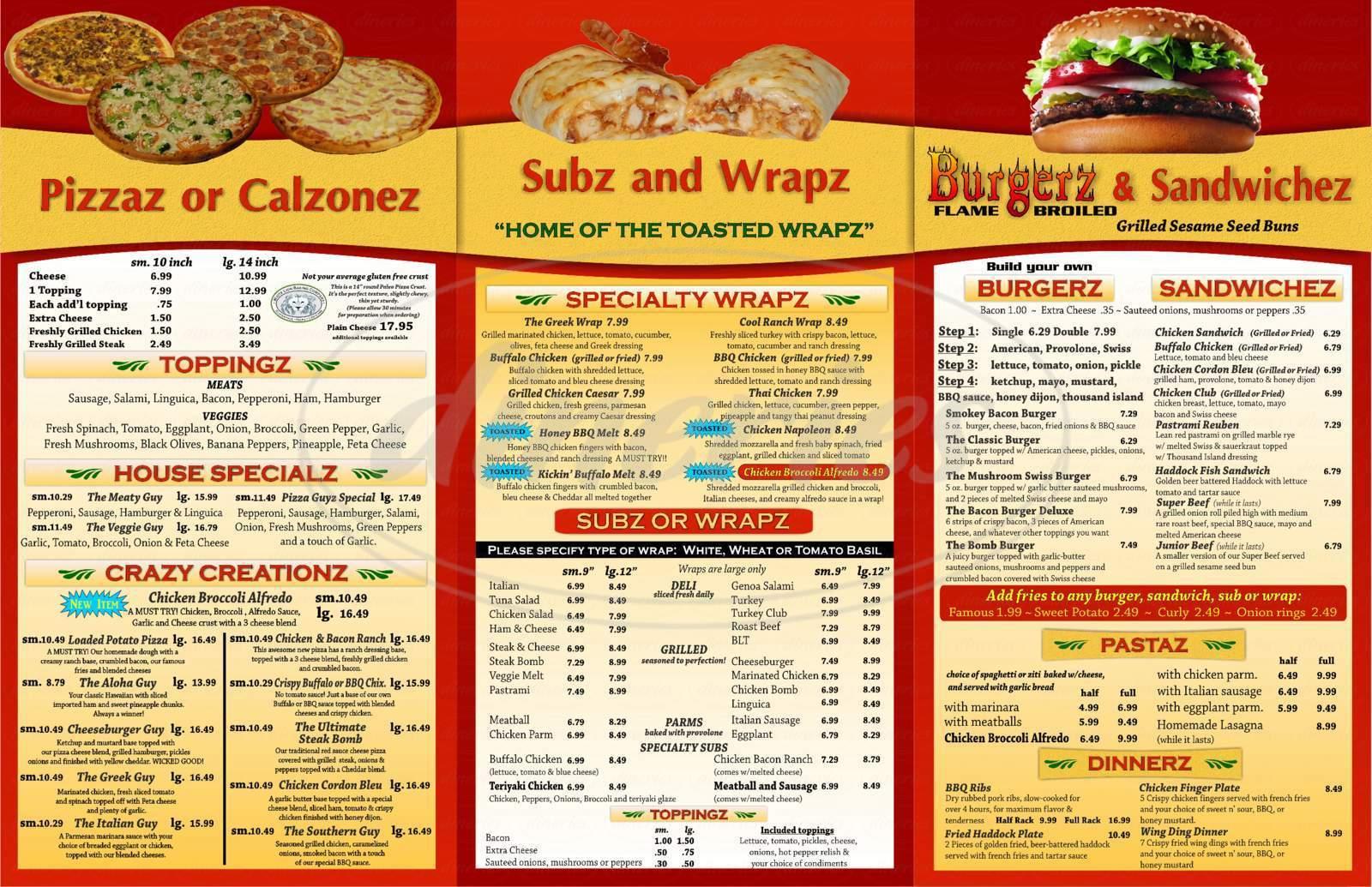 The Pizza Guyz Menu Mashpee Dineries