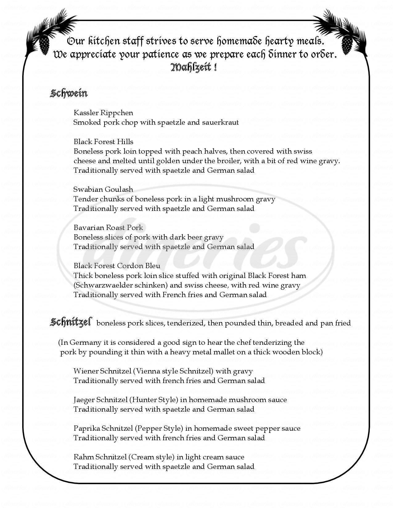 Black Forest Adler Menu - Amherst - Dineries