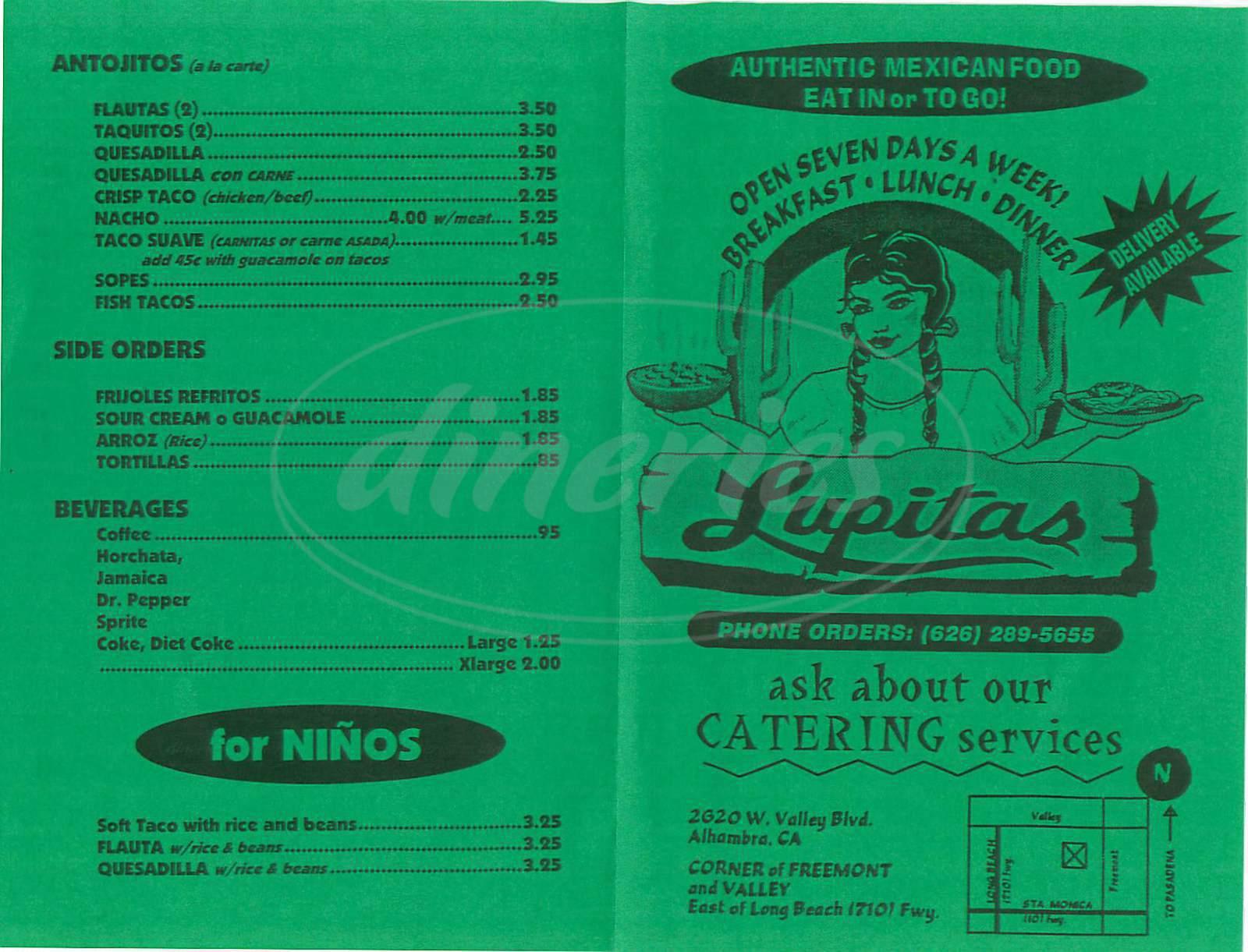 Lupitas Mexican Restaurant Menu