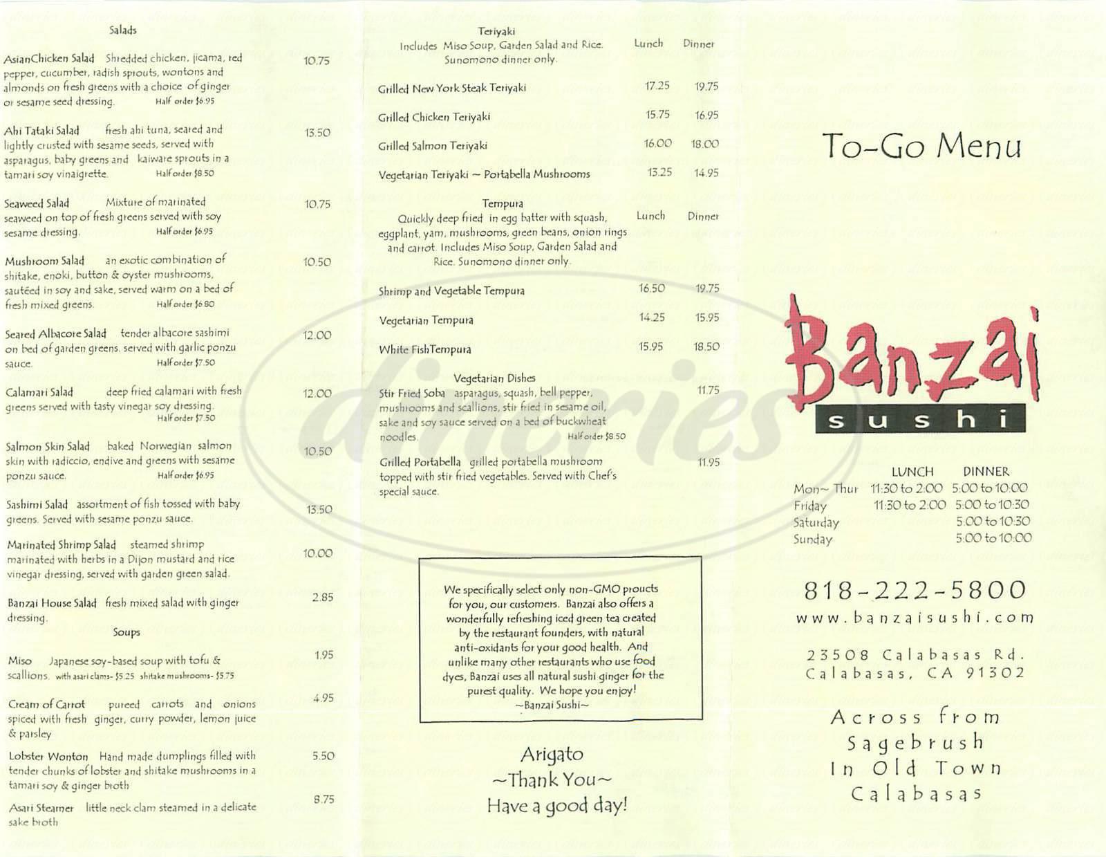 Banzai Sushi Menu Calabasas Dineries