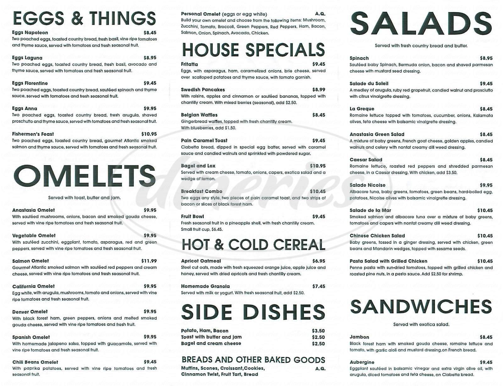 6 Cafe Stoelen.Anastasia Cafe Menu Laguna Beach Dineries