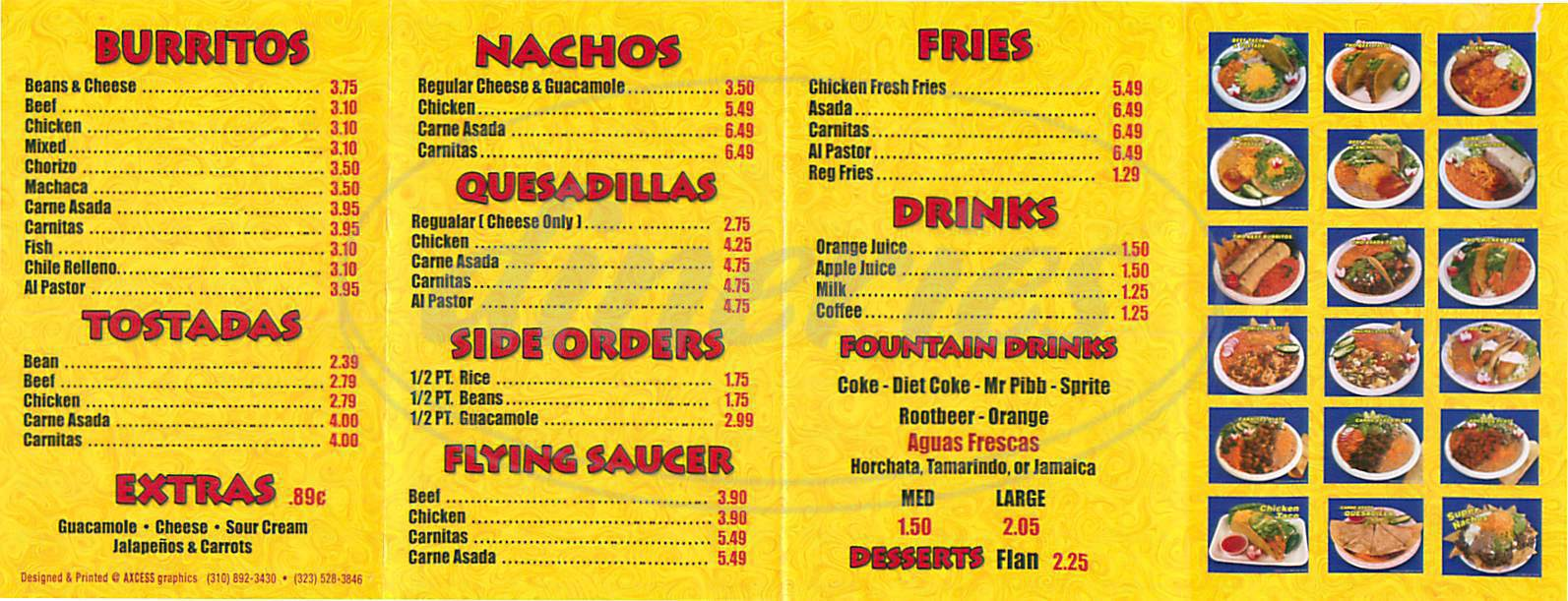 Sergio S Mexican Restaurant Menu