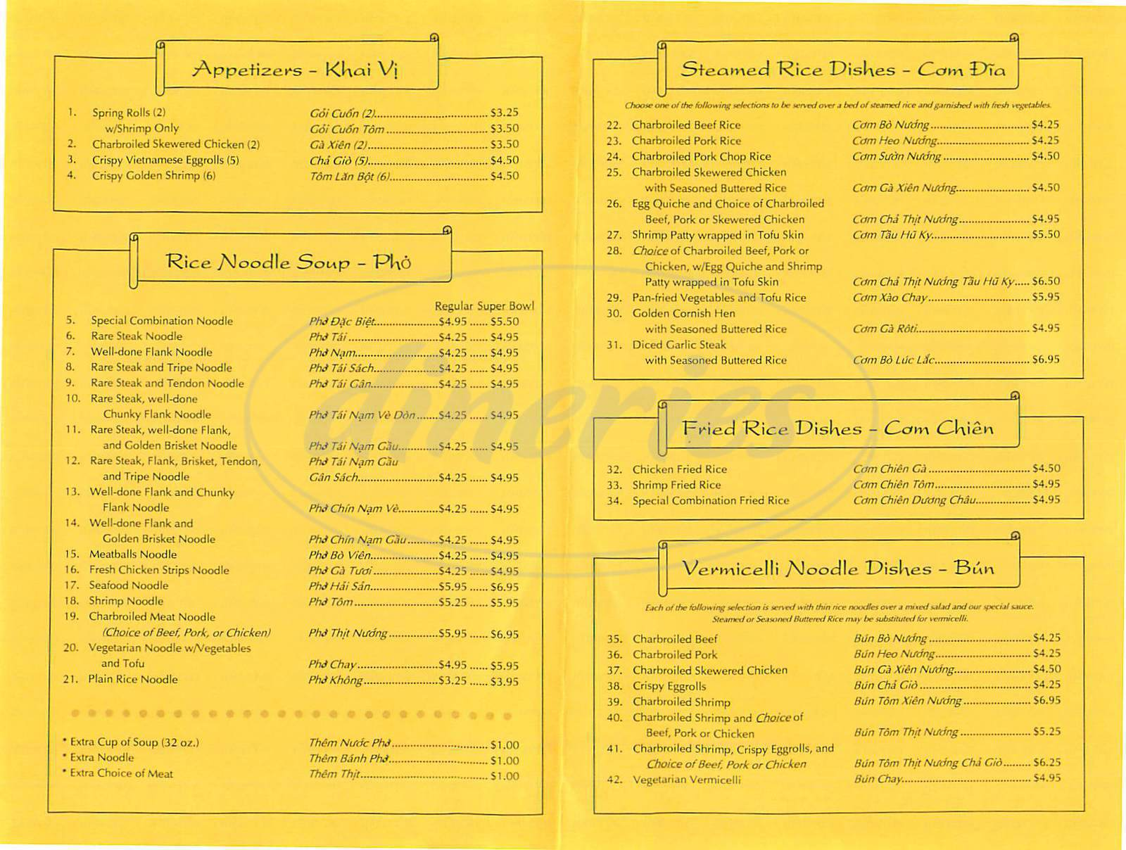 Pho Super Bowl Menu - Alhambra - Dineries