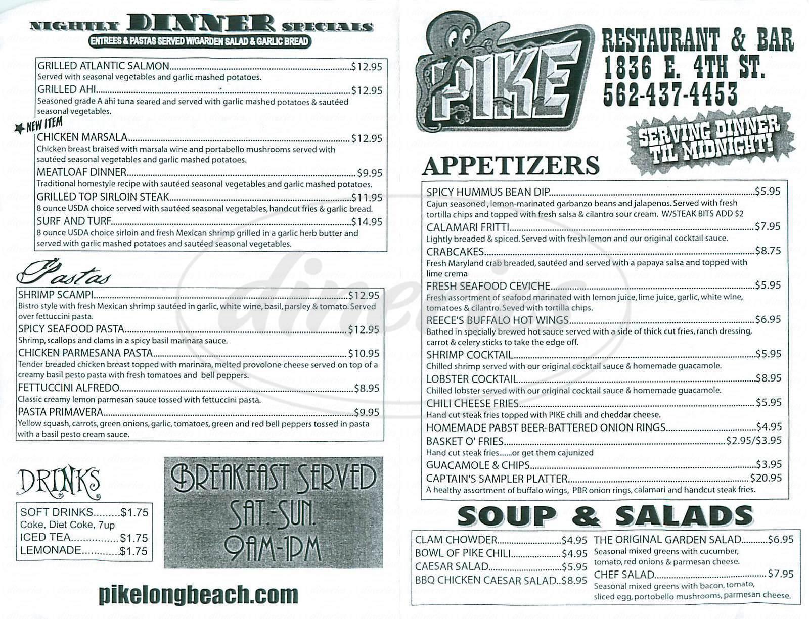 The Pike Bar Grill Menu Long Beach Dineries