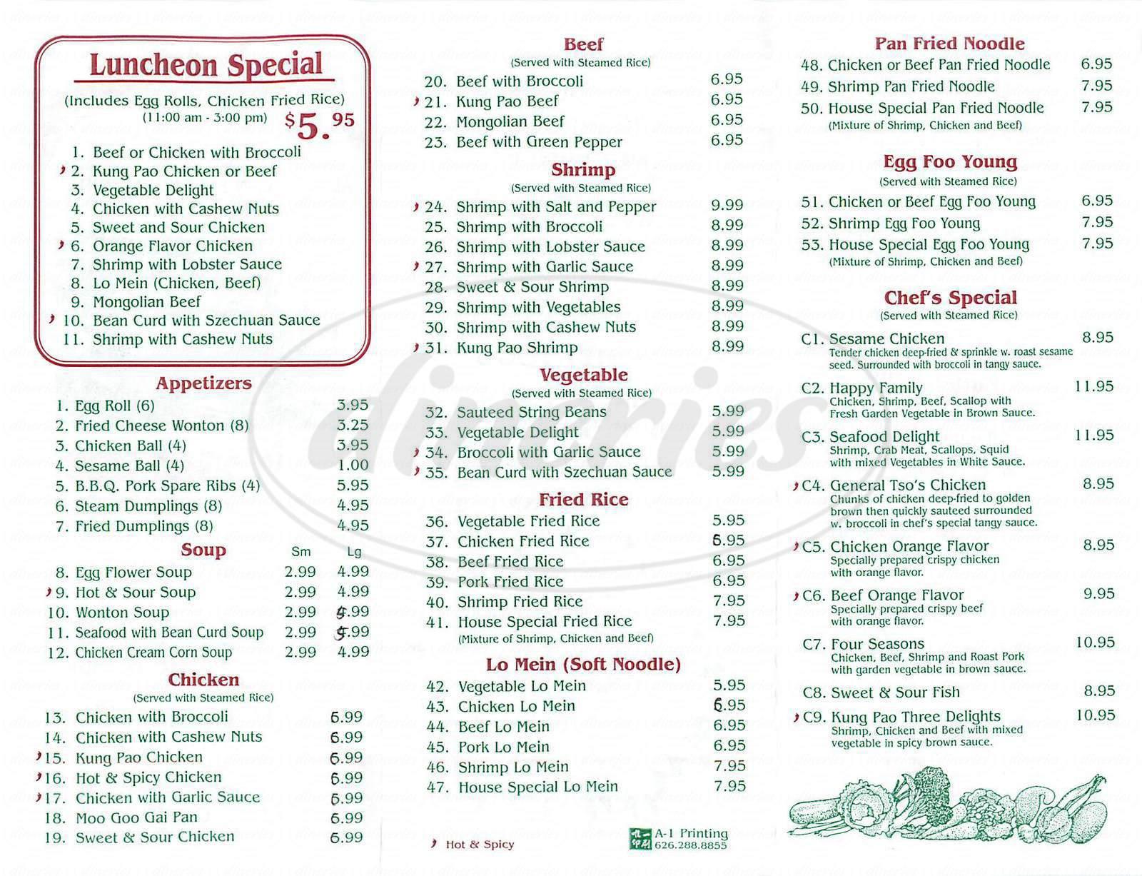 Days Restaurant Brighton Menu