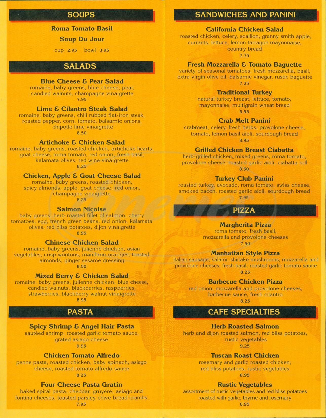 Cafe Nordstrom Restaurant Menu