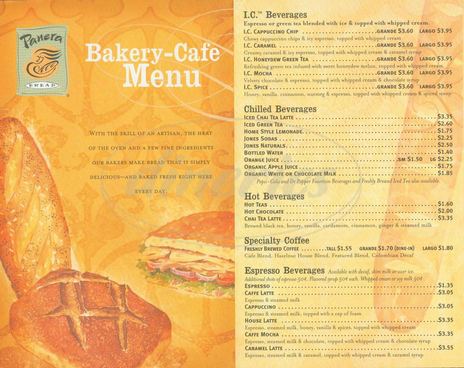 image about Panera Printable Catering Menu named Panera Bread Large Menu - Irvine - Dineries