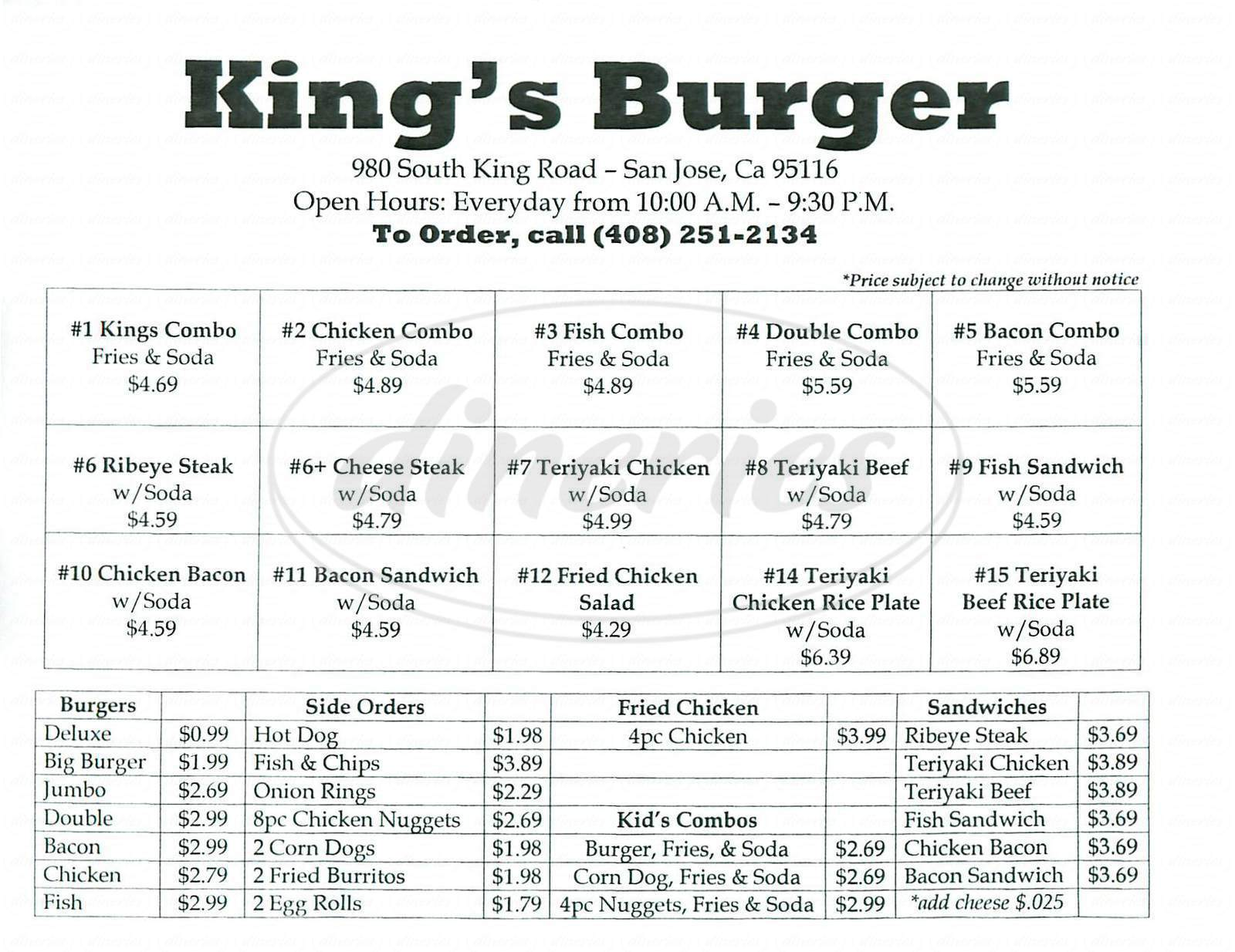 9a8a45e8907a menu for King s Burger. Menu items and prices are subject to change anytime.