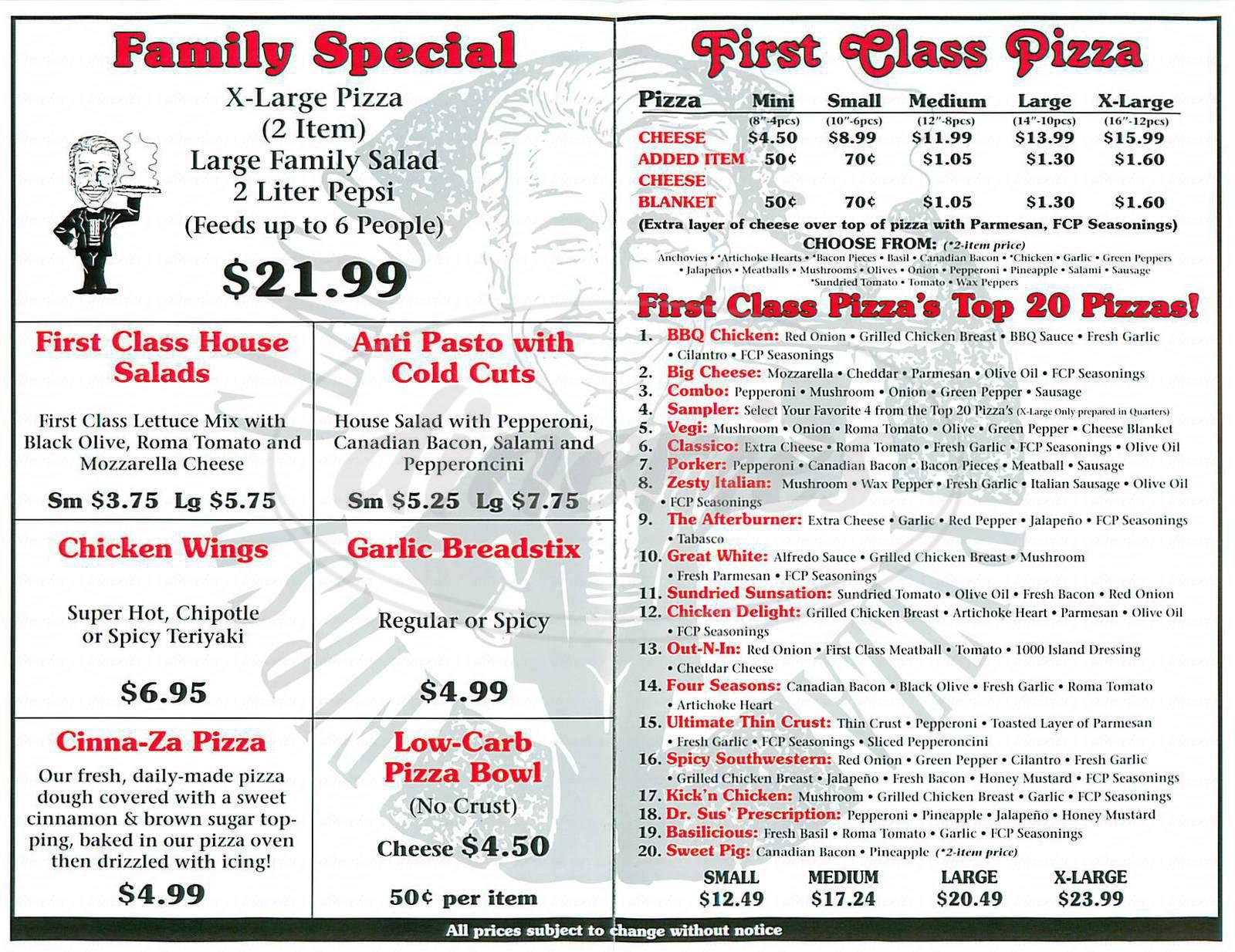 First Class Pizza Menu Villa Park Dineries