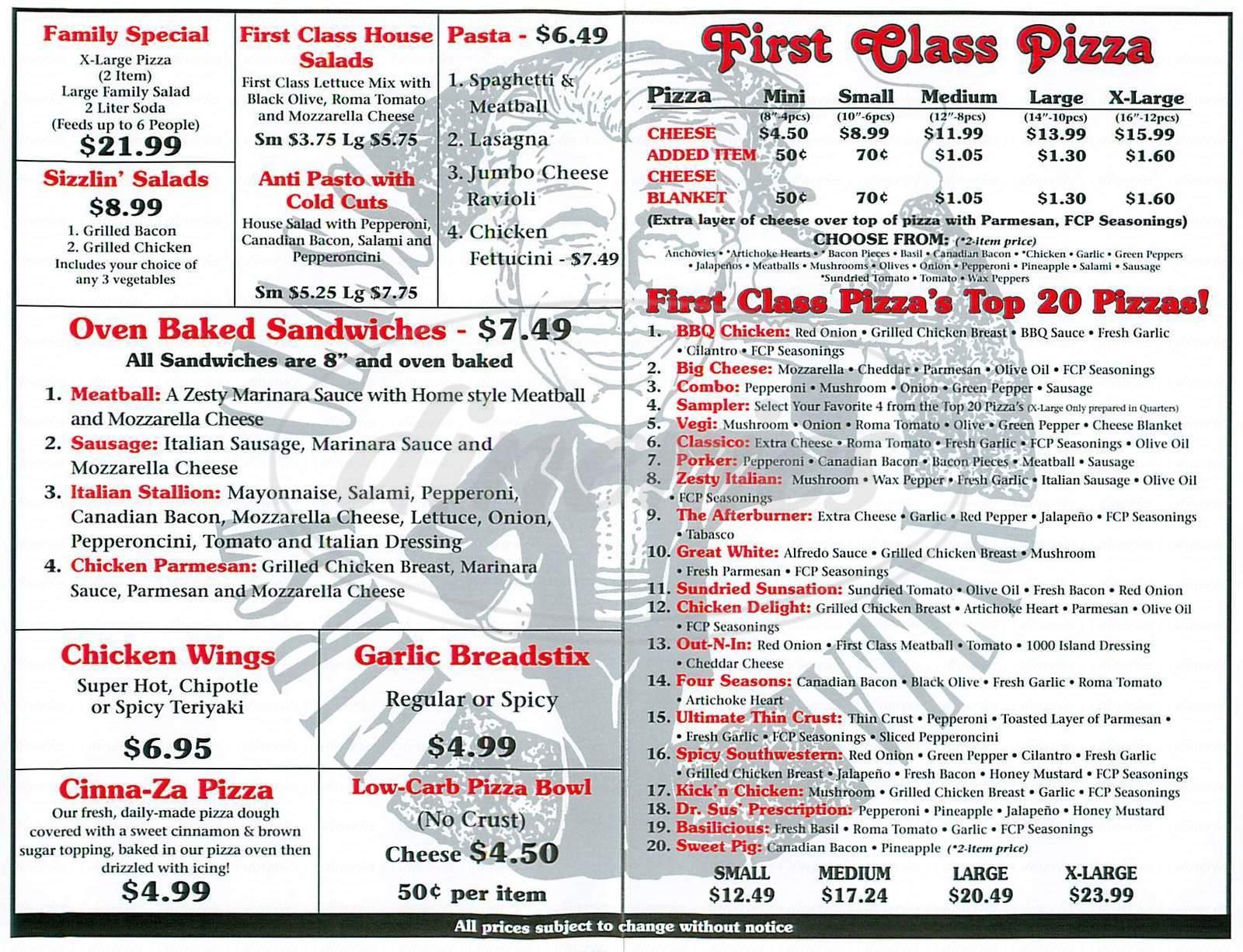 First Class Pizza Menu Newport Beach Dineries