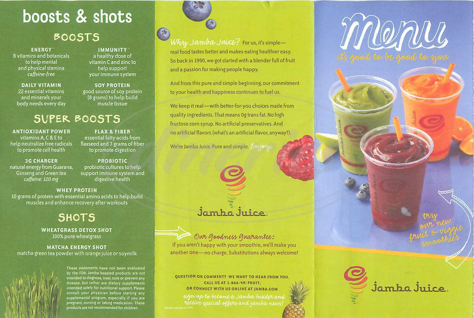 Jamba Juice Menu Smoothies