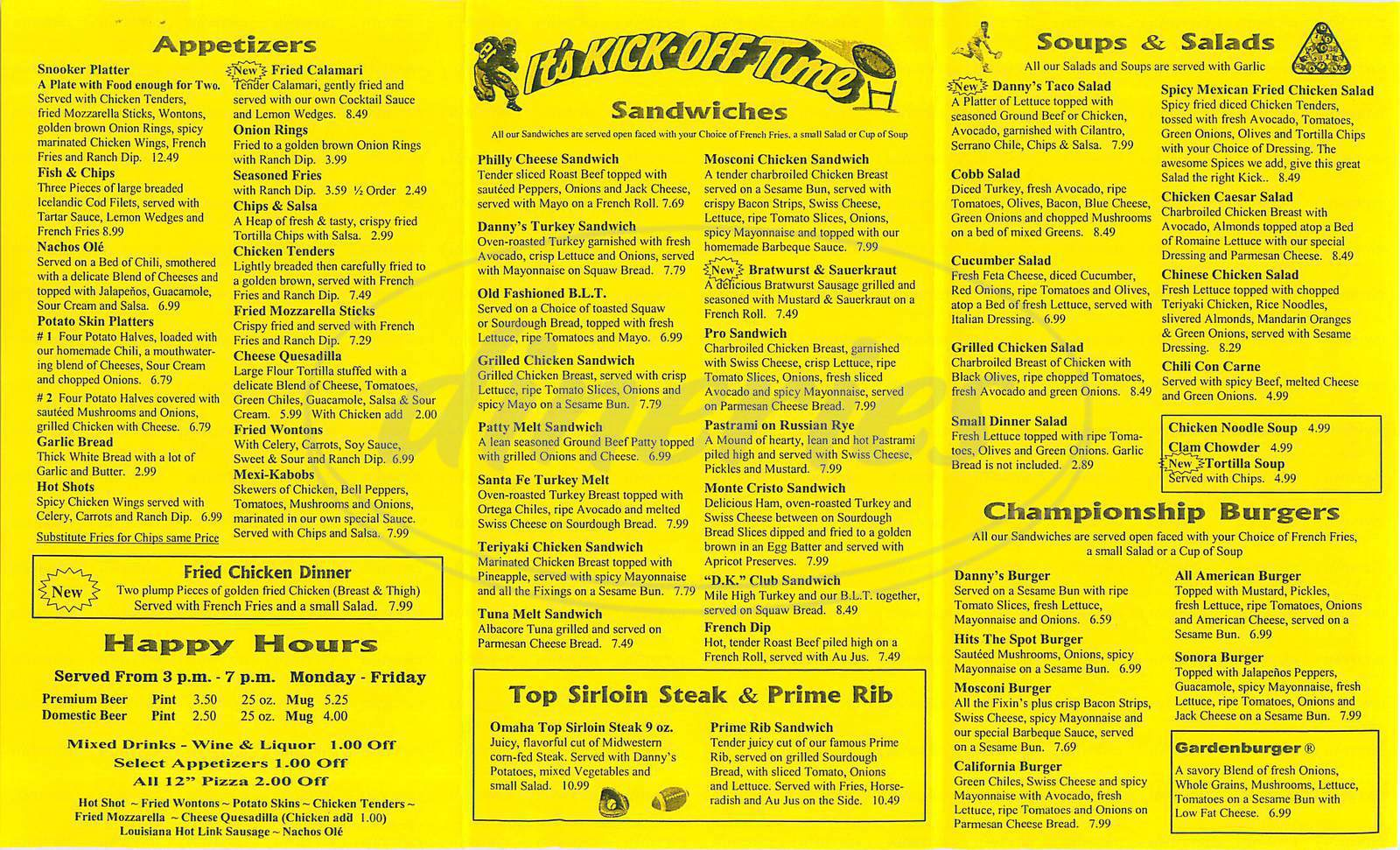 danny k s sports bar menu orange dineries dineries