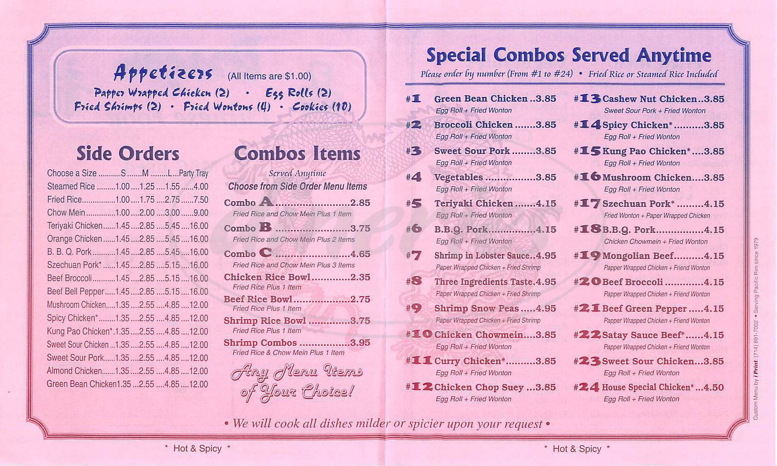 George And The Dragon Food Menu